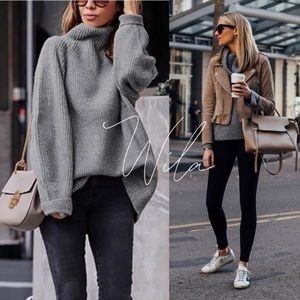 Knit turtleneck sweater charcoal gray